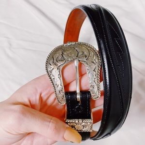 Genuine Leather Silver Western Buckle Belt
